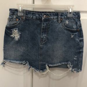 Forever 21 Distressed Denim Skirt
